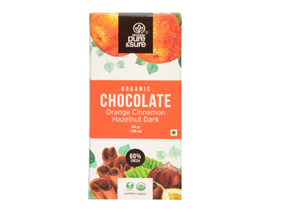 Organic Chocolate Bar-Orange, Cinnamon, Hazelnut Dark (Pure&Sure)