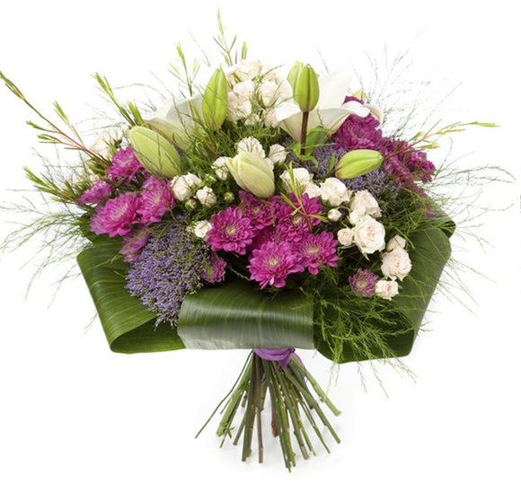 Lilies, Chrysanthemum, Babyrose and Tranchelium with touch of Greeneries