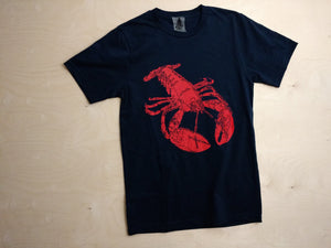 Loyal Citizen Clothing's famous lobster t-shirt screen printed by hand in Maine.