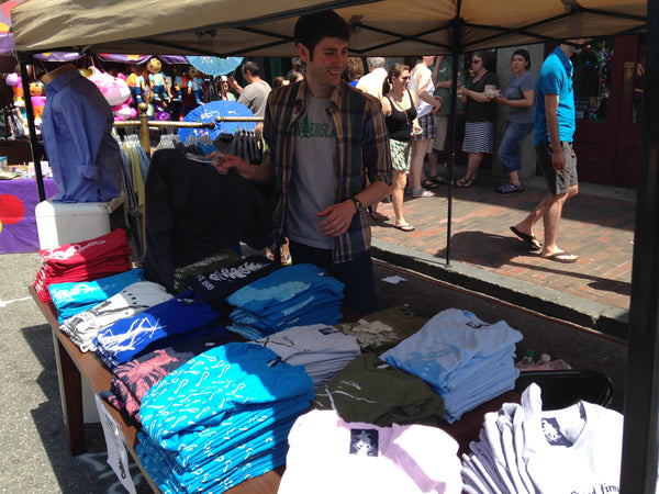 Julian holding down the Loyal Citizen Clothing booth on Sunday's Old Port Festival.