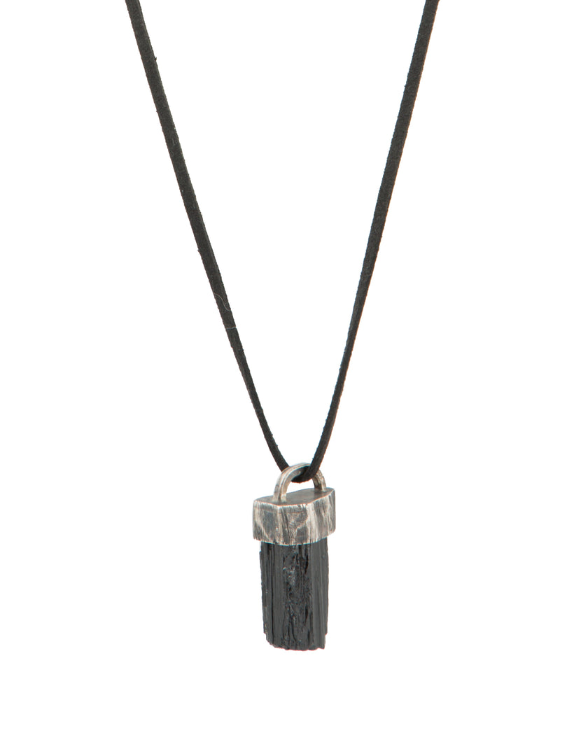 Black Tourmaline Leather Necklace
