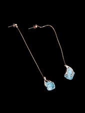 Claw Earrings, Silver & Blue Topaz