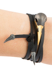 Crow Bracelet, Silver & Leather