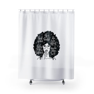 Positive Affirmations Shower Curtain - White