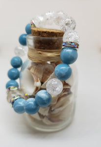 Larimar & Crackle Quartz with a Clear Quartz focal bead- 7 inch