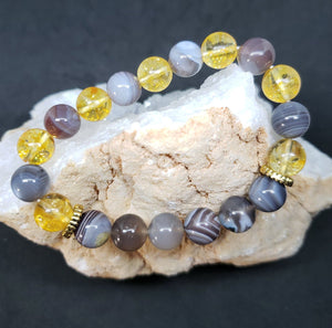 Citrine & Botswana Agate w/gold accents- 7.5 inches