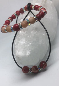 Red Imperial Jasper & Champagne Druzy Necklace and Bracelet set w/rainbow accents