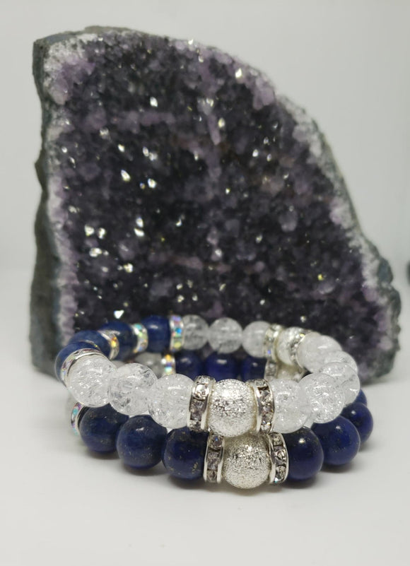 2 piece set- Lapis Lazuli & Crackle Quartz w/silver & rhinestone accents-7 inch