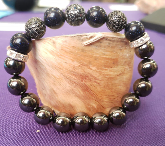 Magnetic Hematite & Blue Goldstone w/pave accents-7.5 inches