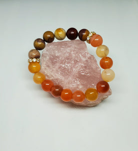 Carnelian & Mookaite w/gold accents-  7 inch