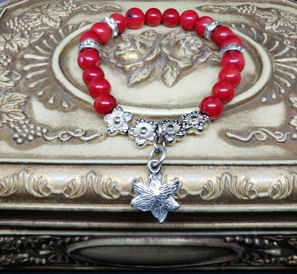 Red Agate w/silver& rhinestone accents-7 inch