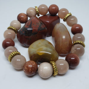 Sunstone & Goldstone w/gold accents-7 inch
