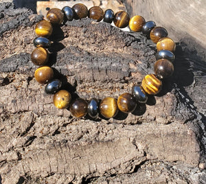 Double Protection Tigers Eye & Hematite Unisex Stretch Bracelet -7.34 inch