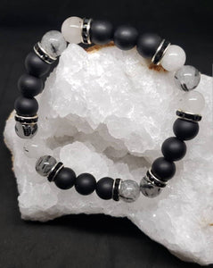 Tourmalinated Quartz & Matte Onyx w/black & silver accents- 7 3/4 inch