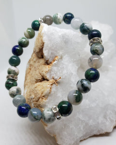 Tree Agate, Lapis Lazuli & Tourmalinated Quartz w/silver accents -7.5inch