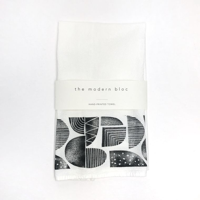 Patterned Shapes Block-Printed Tea Towel
