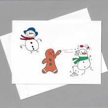 Load image into Gallery viewer, Snowball Fight with 2 Snowmen Card