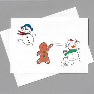 Snowball Fight with 2 Snowmen Card