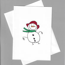 Load image into Gallery viewer, Snowman with Red Hat Card