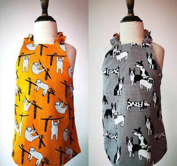 Handcrafted Reversible Apron - Sloths & Canines