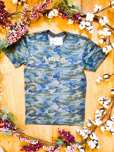 """Amen."" Camo - Graphic T-Shirt - Wanderer Traveling Boutique"