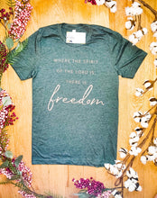 "Load image into Gallery viewer, ""Where The Spirit Of The Lord Is, There Is Freedom"" - Graphic T-Shirt - Wanderer Traveling Boutique"