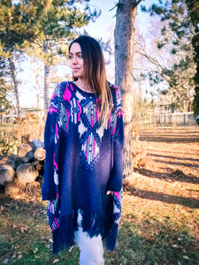 Aztec Poncho Sweater in Navy - Wanderer Traveling Boutique