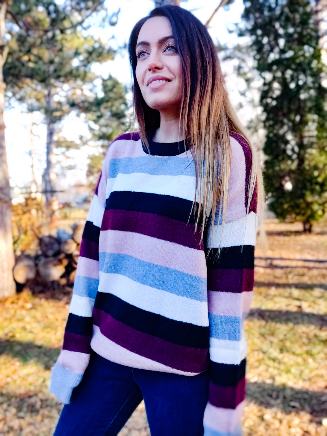 Plush Striped Sweater - Wanderer Traveling Boutique