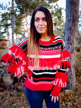 Load image into Gallery viewer, Red Fringe Andean Sweater - Wanderer Traveling Boutique