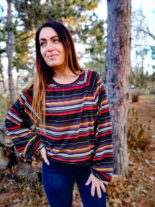 Fresh Multicolored Black Sweater - Wanderer Traveling Boutique