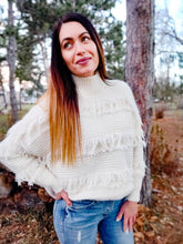Load image into Gallery viewer, Luxurious Ivory Fringed Turtleneck - Wanderer Traveling Boutique