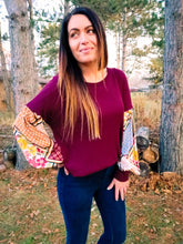 Load image into Gallery viewer, Effortless Burgundy Boho Sleeve Top - Wanderer Traveling Boutique
