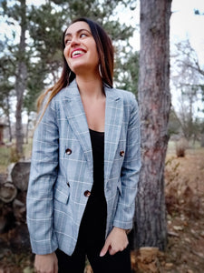 Chic Double Breasted Houndstooth Blazer in Black - Wanderer Traveling Boutique