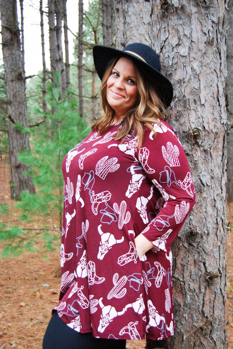 Wonderful Western Plus Size Women's Tunic in Burgundy - Wanderer Traveling Boutique