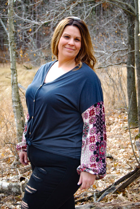 Pretty Print Sleeve Plus Size Women's Top - Wanderer Traveling Boutique