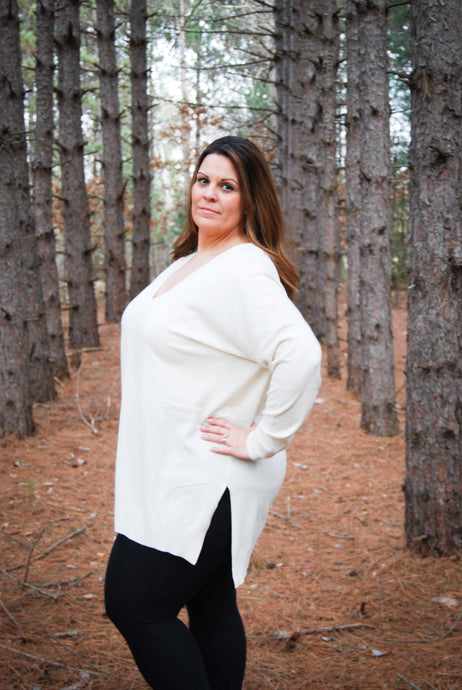 Luxurious Ivory Plus Size Women's Sweater - Wanderer Traveling Boutique