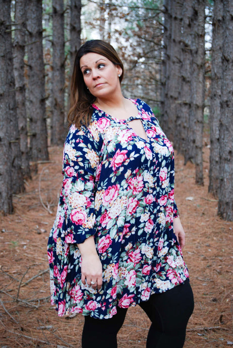 Flattering Floral Plus Size Women's Tunic in Navy - Wanderer Traveling Boutique