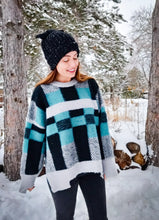 Load image into Gallery viewer, Tantalizing Teal Plaid Sweater - Wanderer Traveling Boutique