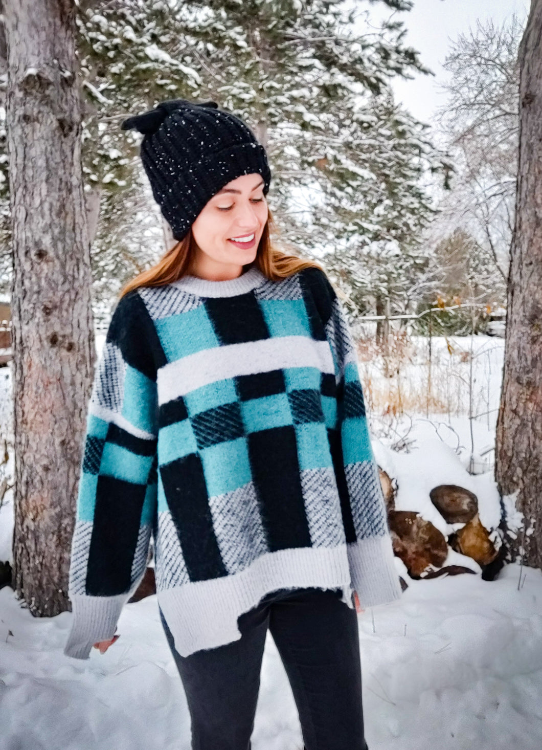 Tantalizing Teal Plaid Sweater - Wanderer Traveling Boutique