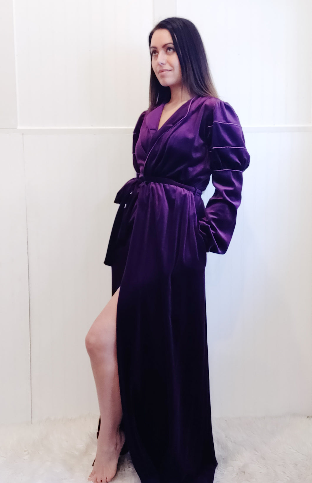 Deep Purple Velour Robe - Wanderer Traveling Boutique