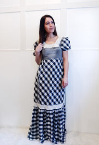 Gorgeous B&W Plaid Prairie Dress - Wanderer Traveling Boutique