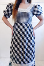 Load image into Gallery viewer, Gorgeous B&W Plaid Prairie Dress - Wanderer Traveling Boutique