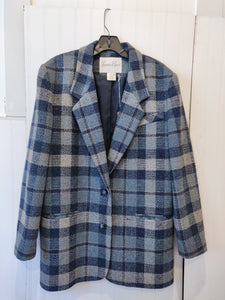 'Talula' Blue Plaid Blazer - Wanderer Traveling Boutique