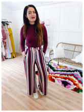 Load image into Gallery viewer, Mauve Pocketed Striped Pant - Wanderer Traveling Boutique