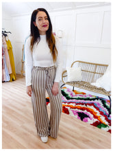 Load image into Gallery viewer, Taupe Striped Pant - Wanderer Traveling Boutique