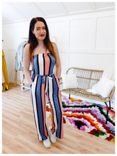 Load image into Gallery viewer, Dusty Coral and Blue Striped Jumper - Wanderer Traveling Boutique