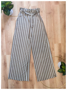 Taupe Striped Pant - Wanderer Traveling Boutique
