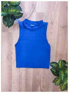 Cobalt Tank Mock Neck Top - Wanderer Traveling Boutique