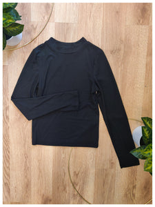 Black Long Sleeve Mock Neck Top - Wanderer Traveling Boutique