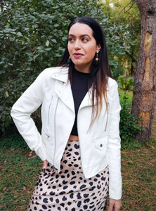 White Leather Jacket - Wanderer Traveling Boutique